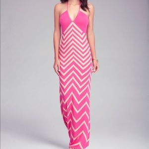 NEW Bebe pink and beige maxi dress!